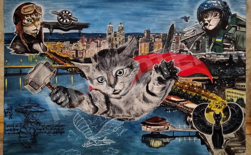 Художник из Днепра, на авто которого упал кот, нарисовал картину с летающими котами