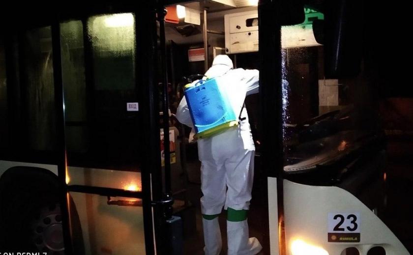 В Днепре вывели пассажиров и провели санитарную обработку автобуса «Neoplan»